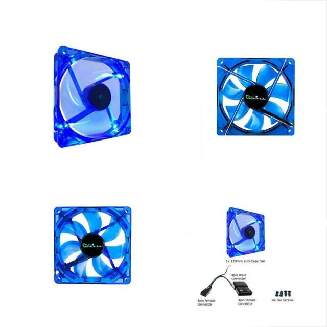 APEVIA CF12SL-UBL 120mm 4pin+3pin Ultra Blue LED Case Fan