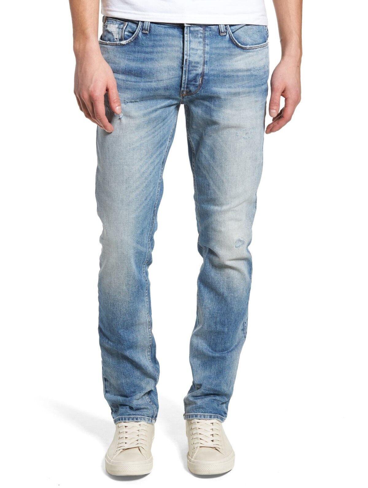 Hudson Jeans Men's Sartor Relaxed Skinny Leg Jeans Method Distressed Denim Mural
