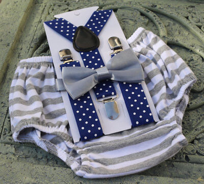 1st Birthday boy cake smash diaper cover bow tie boy clothes Royal blue gray