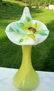 FENTON-Buttercup-Overlay-HP-Sunflower-Jack-in-the-Pulpit-Tulip-JIP-Vase-11-H