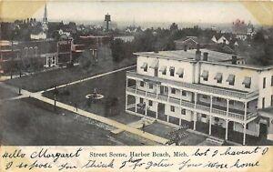 F14-Harbor-Beach-Michigan-Postcard-1908-Street-Scene-Hotel-Stores
