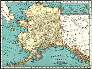 1939 Antique ALASKA State Map Vintage 1930s Map of ALASKA Gallery ...