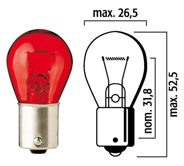 MADE IN GERMANY RED TAIL LIGHT BULB PR21W 12V 21W BAW15S 667102 FLOSSER