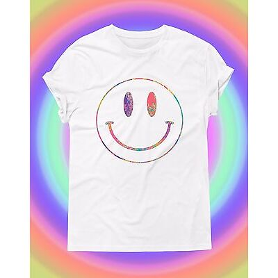 Acid Smiley Face Pastel T shirt Trippy Rave House Music Festivals