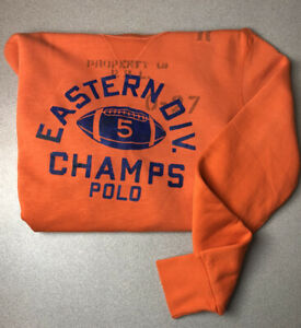 POLO-RALPH-LAUREN-Division-Champs-Crew-Neck-Sweatshirt-Orange-Sweater-Size-Med