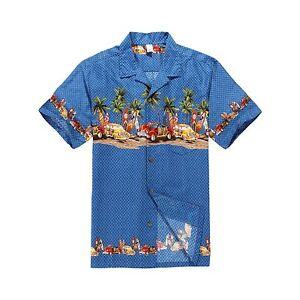 Men-Aloha-Shirt-Cruise-Tropical-Luau-Party-Hawaiian-Blue-Vintage-Cars-Surf-Palm