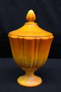 Vintage-Mid-Century-Modern-Orange-Slag-Glass-Footed-Pedestal-Candy-Dish-w-Lid