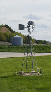 Windmill-Weather-Vane-OMAHA-PICK-UP-ONLY-Miniature-10-Ft-Steel-99-Silver-Red