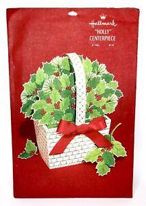 Vintage-Hallmark-Holly-Basket-Decor-Christmas-Centerpiece-NOS