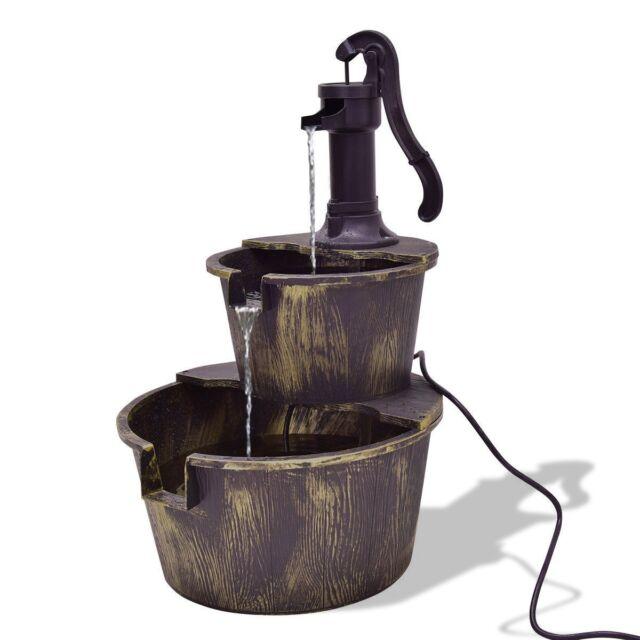 2 Tiers Barrel Water Fountain Pump Indoor Outdoor Decor Patio Garden Yard