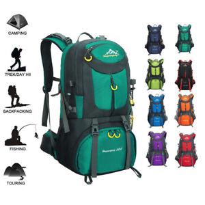 3076d43b43e9 Image is loading Hiking-Backpack-50L-Waterproof-Huwaijianfeng-Outdoor -Sport-Daypack-