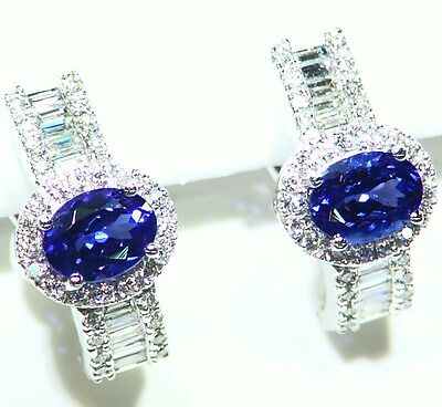 4.34CT 14K Gold Natural Tanzanite White Diamond Vintage AAA Engagement Earrings