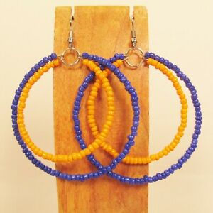 2-034-Orange-and-Blue-Color-Double-Hoop-Handmade-Seed-Bead-Earring-TEAM-COLORS