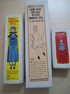 Vintage 1950's Shackman Japan Wood, Bisque, and Cloth Dolls With Original Boxes
