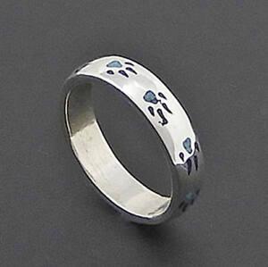 echte Türkis-//Lapiseinlage Indianerschmuck Navajo Ring Bärentatze Silber