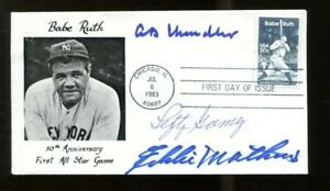 Lefty-Gomez-Eddie-Mathews-AB-Chandler-Signed-FDC-First-Day-Cover-Autograph-56192