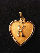 Ciondolo Cuore Medaglione d'Oro Placcato Lettera Ct 2 cm