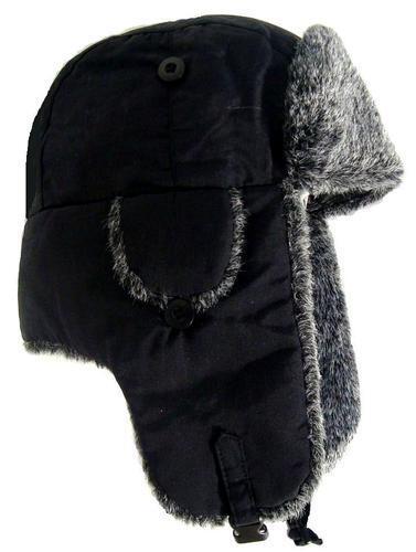 WINTER RUSSIAN TRAPPER HAT mens XL cossack ski hat warm grey fur Soviet ushanka