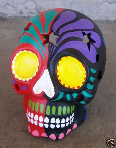 Large Day of the Dead Painted Skull Luminaria Multicolored Peru