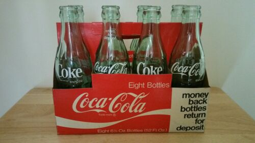 vintage 6.5 oz Coke Bottles with paperboard carrier