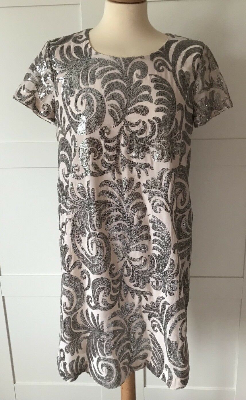 ONLY, Nude Shift Dress Encrusted With Sequins, Size 8, NEVER WORN RRP