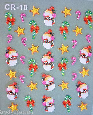 Nail Care, Manicure & Pedicure Nail Art Accessories Reliable Weihnachten Weiß Schneeflocken Candy Cane Schleifen Schneemann-design 3d Special Buy