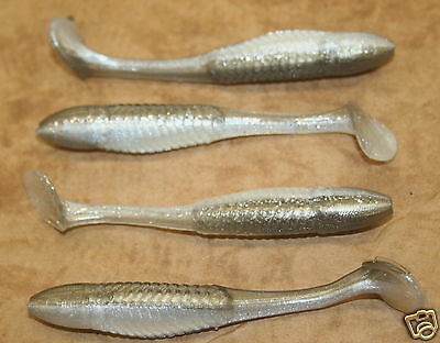 "3.5/"" Swim Minnow Pearl Swimbait Trailer for A Rig 50 pack bulk bag Plastic Worm"