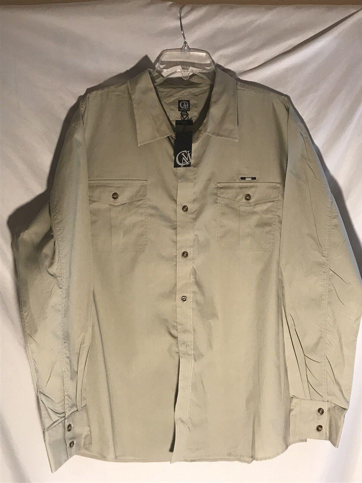Cavi men's shirt 3XL Taupe long sleeve cotton shirt