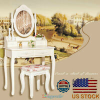 Elegance Dressing Table Makeup Vanity 4 Drawers With Stool Set And Mirror White on sale