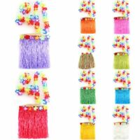 Hula Skirt Hawaiian Grass Luau Lei Flower Fancy Dress Party Costume Short A73
