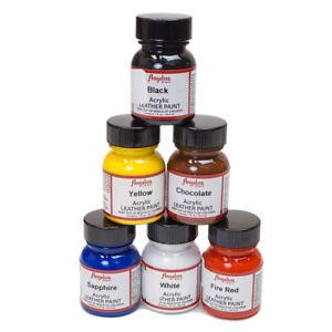 Details About Angelus Brand Waterproof Leather Vinyl Acrylic Paint 6 Bottle Starter Set Kit 3