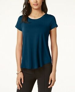 Alfani Petite Womens Satin Trim High Low T Shirt Teal Petite Extra Small