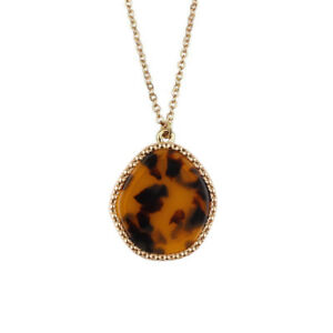 Gold-Tone-Classic-Leopard-Shell-Irregular-Round-Long-Chain-Pendant-Necklace