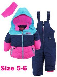 ec2f202d1d1d Pink Platinum Girls Pink Navy Print Snowsuit SET Pants Jacket Coat ...