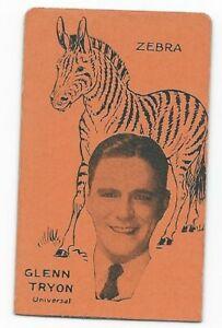 Rare 1920's Film Star & Animals Strip Card Glenn Tryon / Zebra