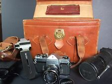 Vintage Leather Perrin CA Camera Bag/ Honeywell Pentax Spotmatic Camera +