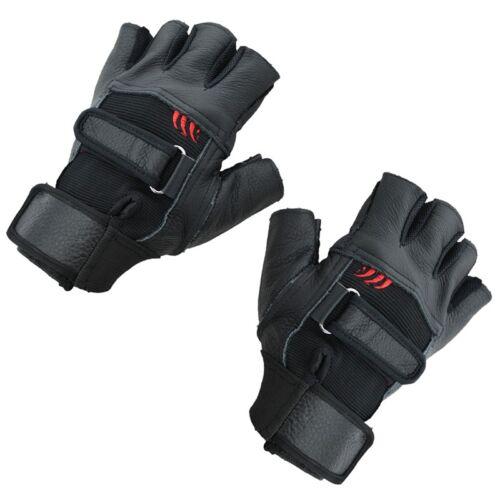 Pair of Black Stylish Leather Fingerless Gloves For Men N2D4