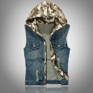 New Fashion Men S Slim Fit Sleeveless Hooded Camo Washed Denim