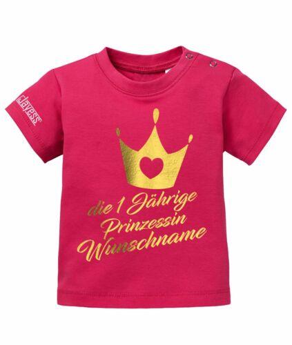 Geburtstag Sorbet 80//86 Baby Shirt Die einjährige Prinzessin Wunschname 1
