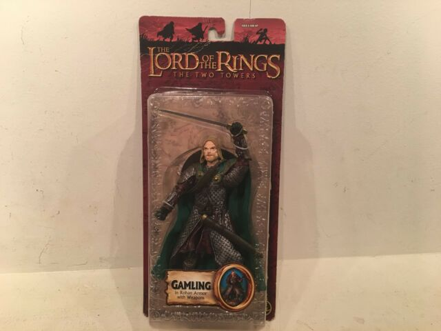 NEW TOYBIZ LORD OF THE RINGS THE TWO TOWERS GAMLING IN ROHAN ARMOR WITH WEAPONS