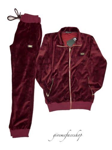 Time is money velour jogging set super star burgundy mens tracksuit slim fit