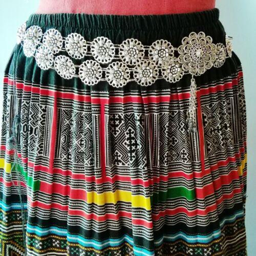Silver Plated Belt Thai Wedding Women Dress Costume Traditional Dance Chain Set