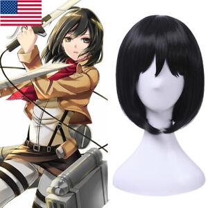 Attack On Titan Mikasa Ackerman Cosplay Wig Short Black Bob Bangs