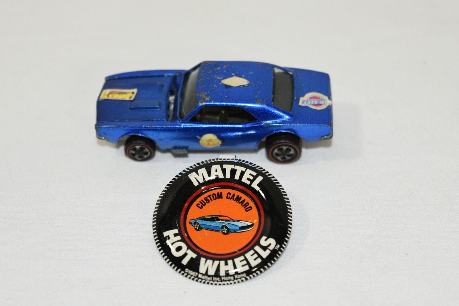Original 1967 Hot Wheels rossoline Custom Camaro blu with dark Internal + Button
