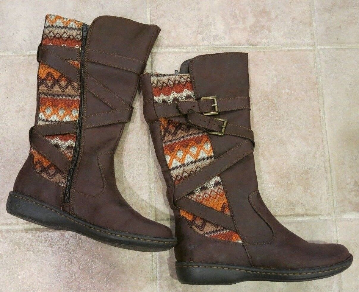 BORN BOC WOMEN'S BROWN WOOL WESTERN BLANKET BOOTS SIZE 8.5M NEW