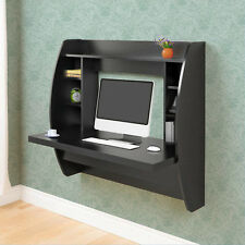 Black Office Computer Desk Floating Wall Mount Desk Storage Shelf PC Table New