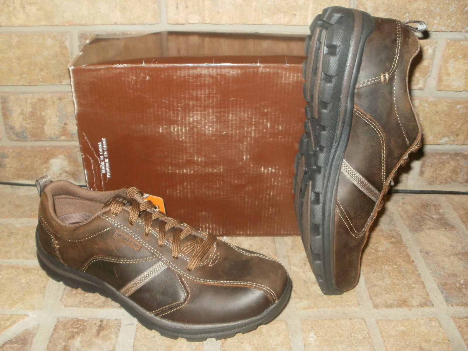 New Skechers Superior Levoy Dark Brown Leather Lace-up shoes 64224 CDB