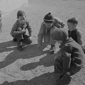 "Kids Playing Marbles in 1943, Americana, 16""x16"" PHOTO, Antique View, Vintage"