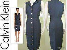 NWT CALVIN KLEIN  Sizes 4/14  Button Front Sleeveless Shirt Dress Blue Denim