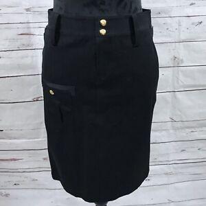Ralph-Lauren-Petite-Women-s-Cargo-Skirt-Black-Knee-Length-Cotton-Size-2P